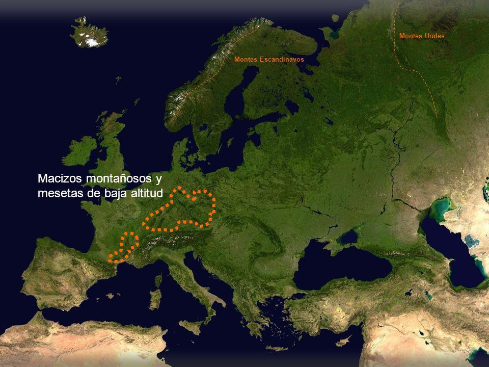 Macizos montañosos y mesetas de baja altitud Montes Escandinavos Montes Urales