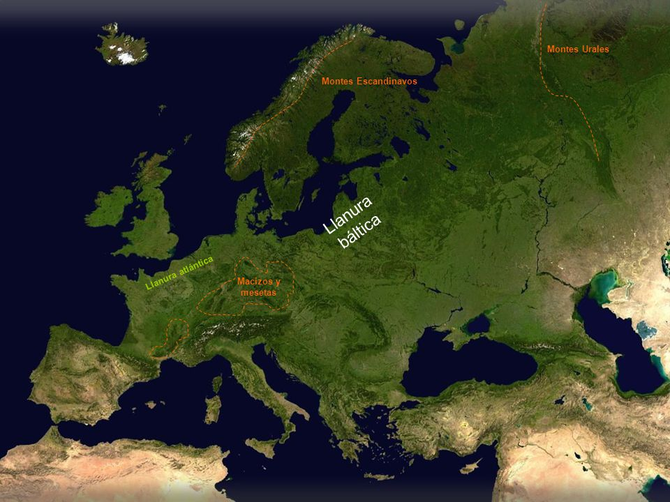 Llanura central Montes Escandinavos Montes Urales Macizos y mesetas Llanura atlántica Llanura báltica