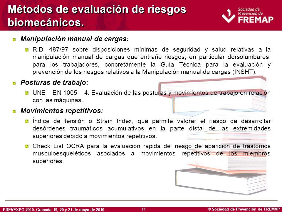 © Sociedad de Prevención de FREMAP PREVEXPO 2010. Granada 19, 20 y 21 de mayo de 2010 11 Métodos de evaluación de riesgos biomecánicos. Manipulación m