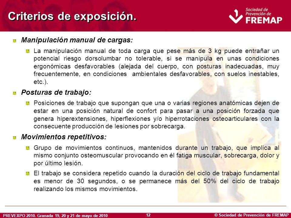 © Sociedad de Prevención de FREMAP PREVEXPO 2010. Granada 19, 20 y 21 de mayo de 2010 12 Criterios de exposición. Manipulación manual de cargas: La ma