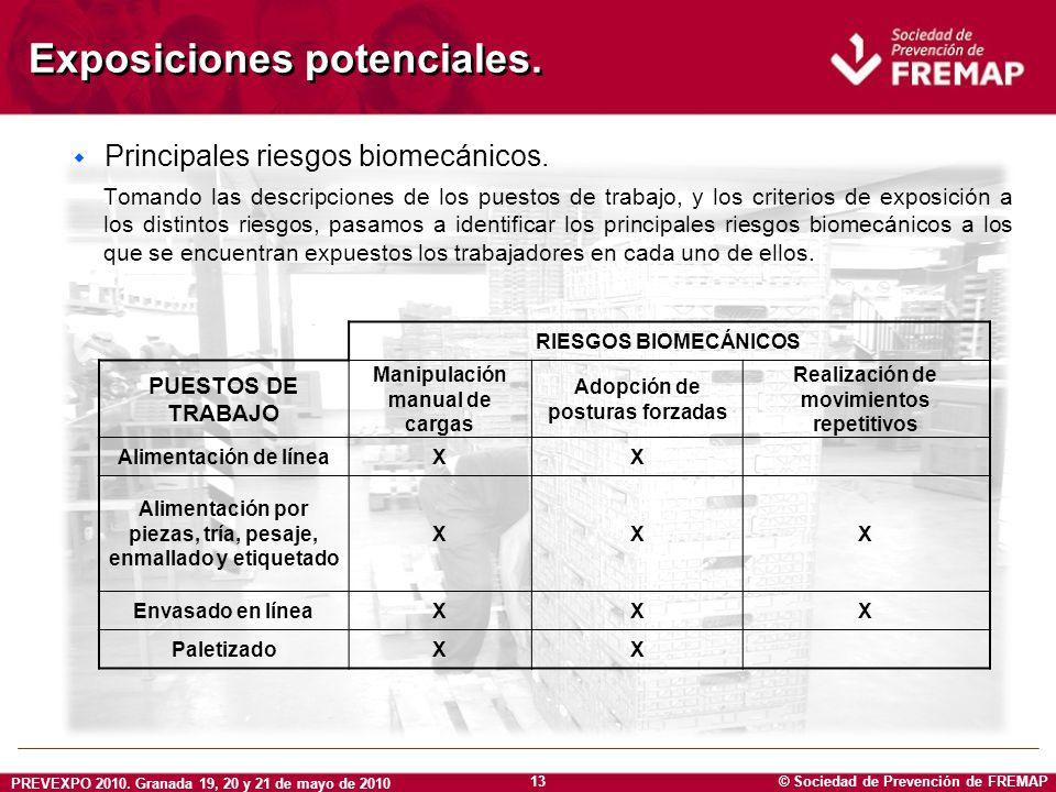 © Sociedad de Prevención de FREMAP PREVEXPO 2010. Granada 19, 20 y 21 de mayo de 2010 13 Exposiciones potenciales. w Principales riesgos biomecánicos.