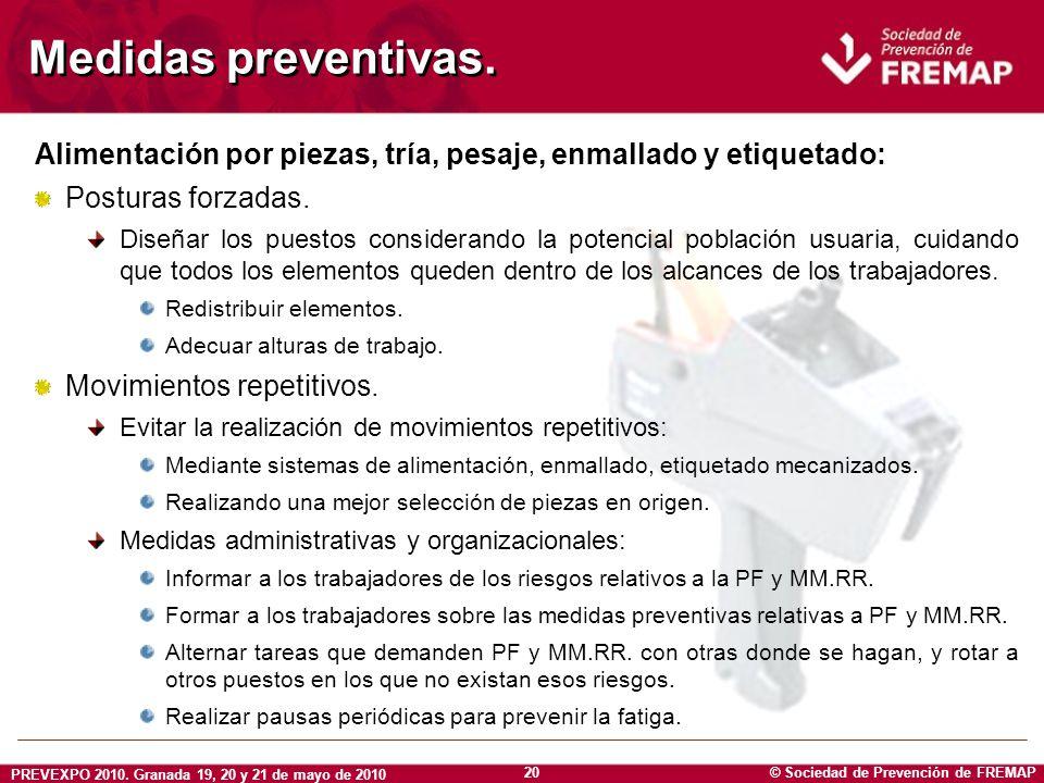 © Sociedad de Prevención de FREMAP PREVEXPO 2010. Granada 19, 20 y 21 de mayo de 2010 20 Medidas preventivas. Alimentación por piezas, tría, pesaje, e