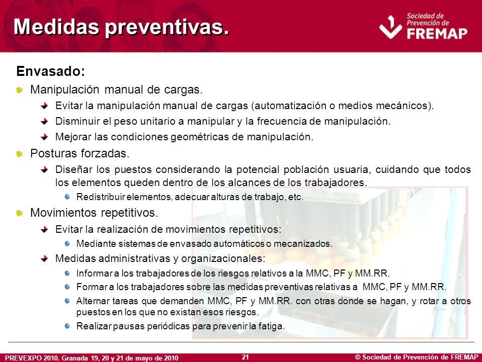 © Sociedad de Prevención de FREMAP PREVEXPO 2010. Granada 19, 20 y 21 de mayo de 2010 21 Medidas preventivas. Envasado: Manipulación manual de cargas.