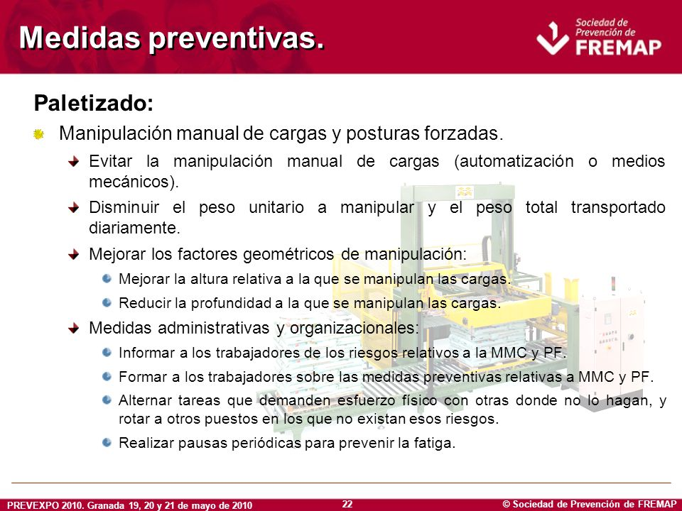 © Sociedad de Prevención de FREMAP PREVEXPO 2010. Granada 19, 20 y 21 de mayo de 2010 22 Medidas preventivas. Paletizado: Manipulación manual de carga