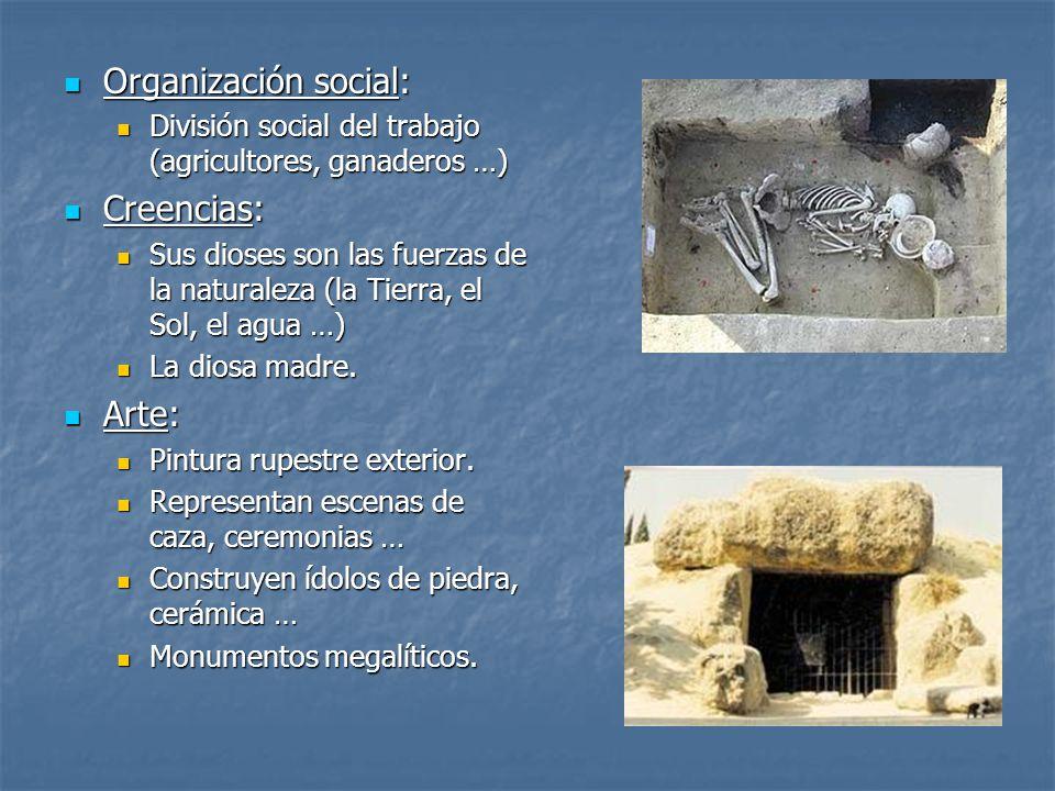 Organización social: Organización social: División social del trabajo (agricultores, ganaderos …) División social del trabajo (agricultores, ganaderos