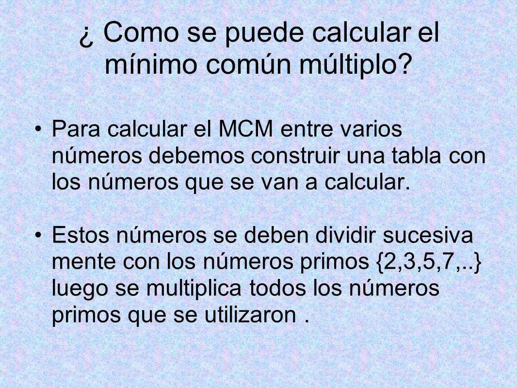 ¿ Como se puede calcular el mínimo común múltiplo.