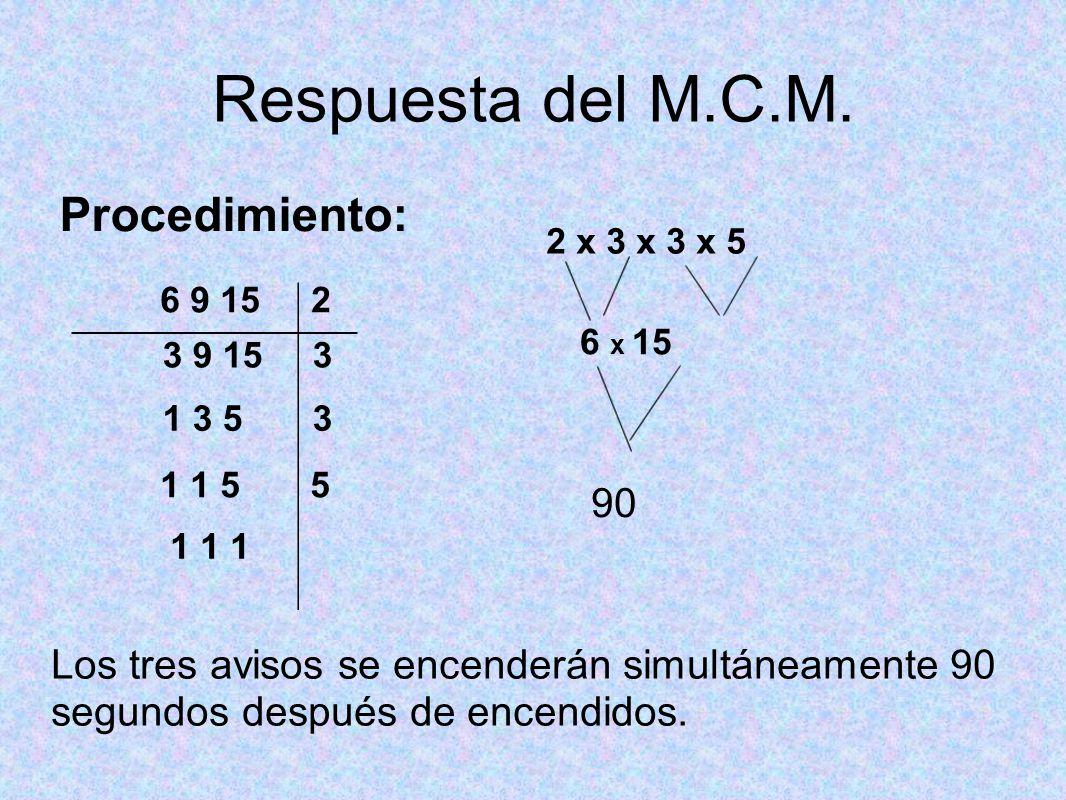 Ejemplo 2 de MCM Juan observa que 3 semáforos están en rojo al mismo tiempo, después de un tiempo ve que, ya no se cumple lo anterior.