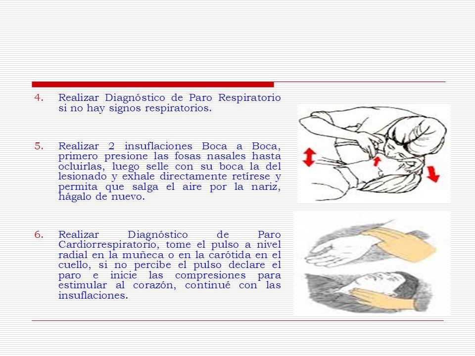 4.Realizar Diagnóstico de Paro Respiratorio si no hay signos respiratorios.
