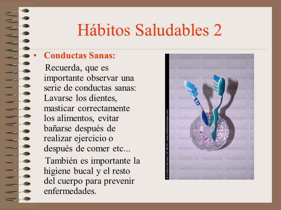 Hábitos Saludables 2 Conductas Sanas: Recuerda, que es importante observar una serie de conductas sanas: Lavarse los dientes, masticar correctamente l