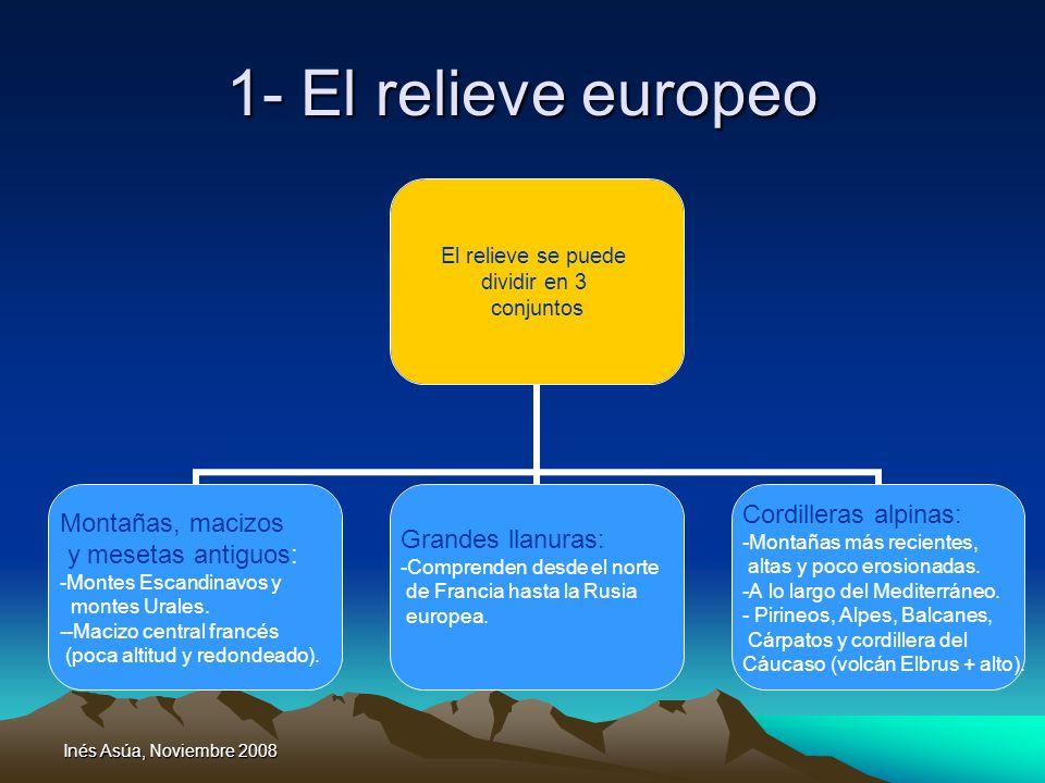 Inés Asúa, Noviembre 2008 1- El relieve europeo El relieve se puede dividir en 3 conjuntos Montañas, macizos y mesetas antiguos: Montes Escandinavos y montes Urales.