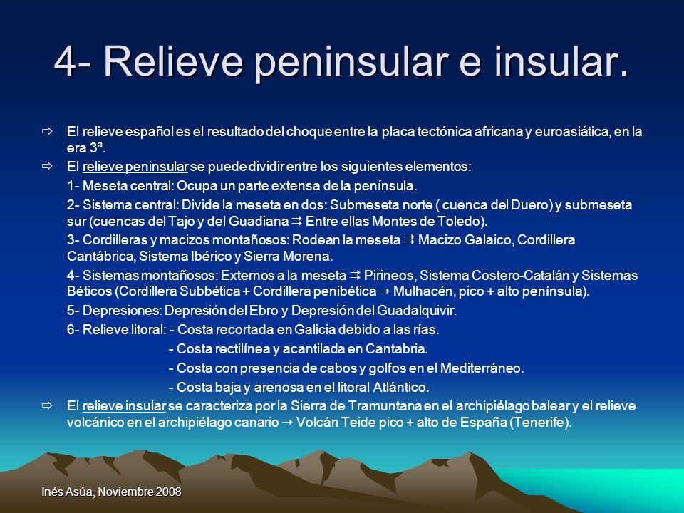 Inés Asúa, Noviembre 2008 4- Relieve peninsular e insular. El relieve español es el resultado del choque entre la placa tectónica africana y euroasiát
