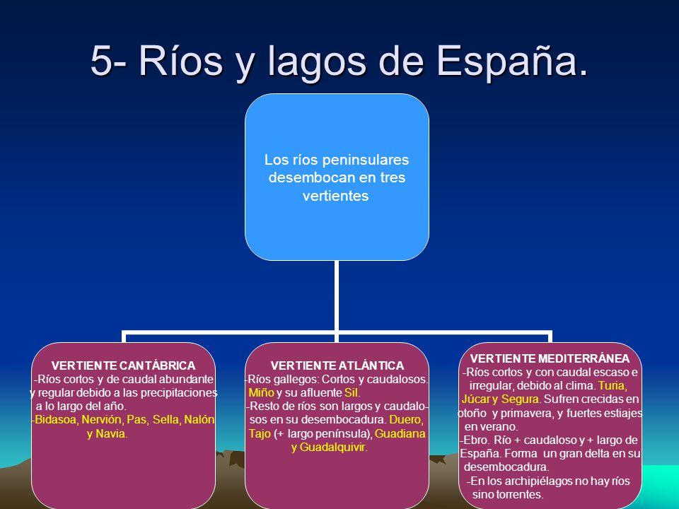 Inés Asúa, Noviembre 2008 5- Ríos y lagos de España. Los ríos peninsulares desembocan en tres vertientes VERTIENTE CANTÁBRICA Ríos cortos y de caudal