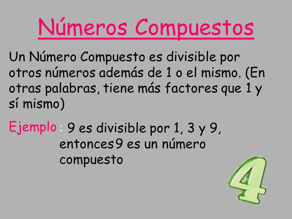 Un Número Compuesto es divisible por otros números además de 1 o el mismo. (En otras palabras, tiene más factores que 1 y sí mismo) Ejemplo : 9 es div