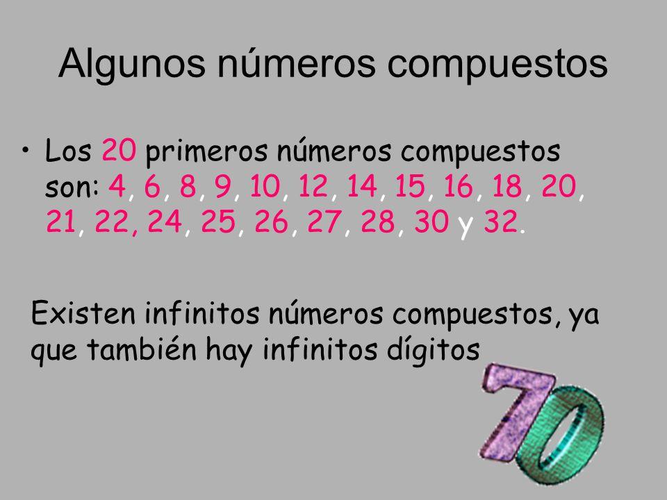 Algunos números compuestos Los 20 primeros números compuestos son: 4, 6, 8, 9, 10, 12, 14, 15, 16, 18, 20, 21, 22, 24, 25, 26, 27, 28, 30 y 32. Existe
