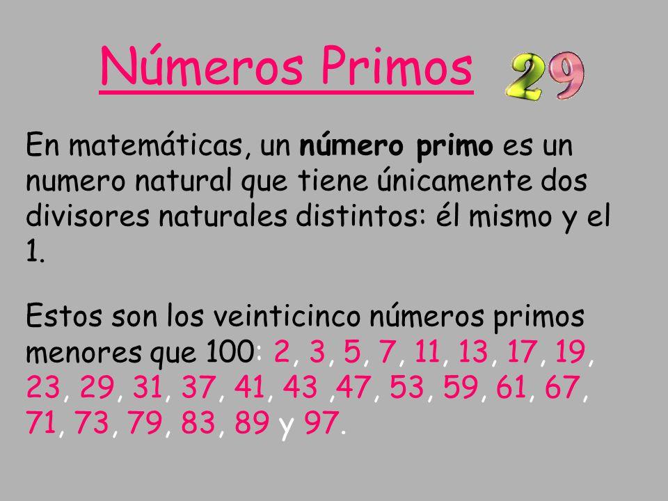 En matemáticas, un nú m ero primo es un numero natural que tiene únicamente dos divisores naturales distintos: él mismo y el 1. Estos son los veintici