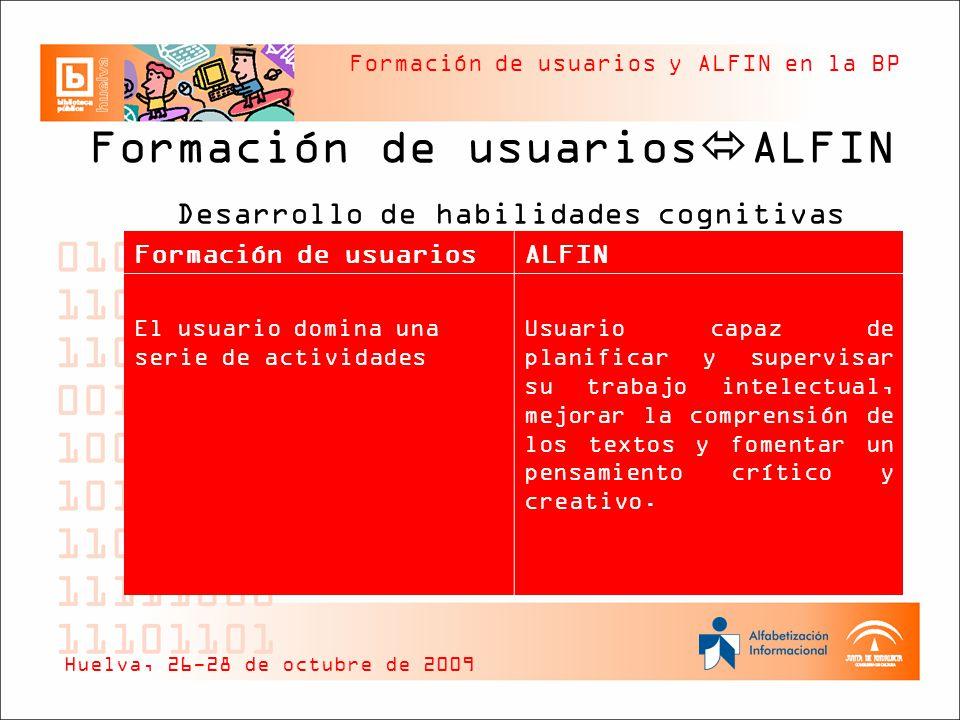 Formación de usuarios y ALFIN en la BP Formación de usuarios ALFIN Desarrollo de habilidades cognitivas Huelva, 26-28 de octubre de 2009 Formación de