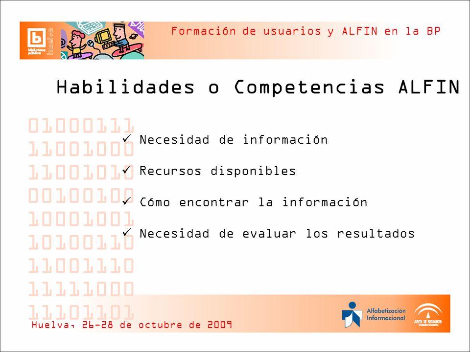 Formación de usuarios y ALFIN en la BP Habilidades o Competencias ALFIN Necesidad de información Recursos disponibles Cómo encontrar la información Ne