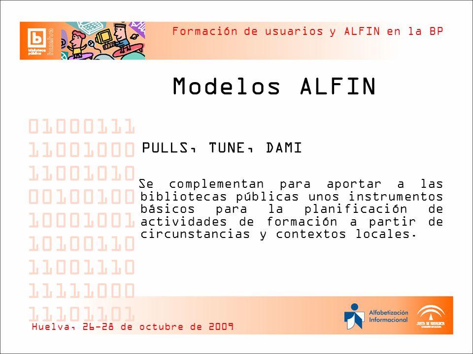 Formación de usuarios y ALFIN en la BP Modelos ALFIN PULLS, TUNE, DAMI Se complementan para aportar a las bibliotecas públicas unos instrumentos básic