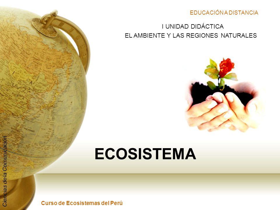 EDUCACIÓN A DISTANCIA Curso de Ecosistemas del Perú Ciencias de la Comunicación ECOSISTEMA I UNIDAD DIDÁCTICA EL AMBIENTE Y LAS REGIONES NATURALES