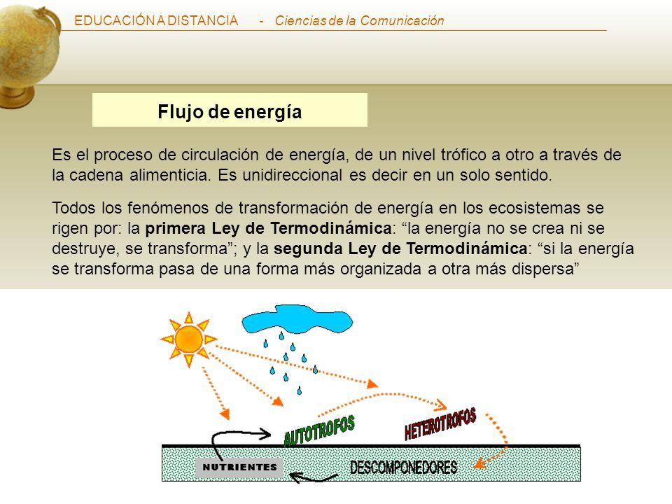 EDUCACIÓN A DISTANCIA Curso de Ecosistemas del Perú - Ciencias de la Comunicación Flujo de energía Es el proceso de circulación de energía, de un nivel trófico a otro a través de la cadena alimenticia.