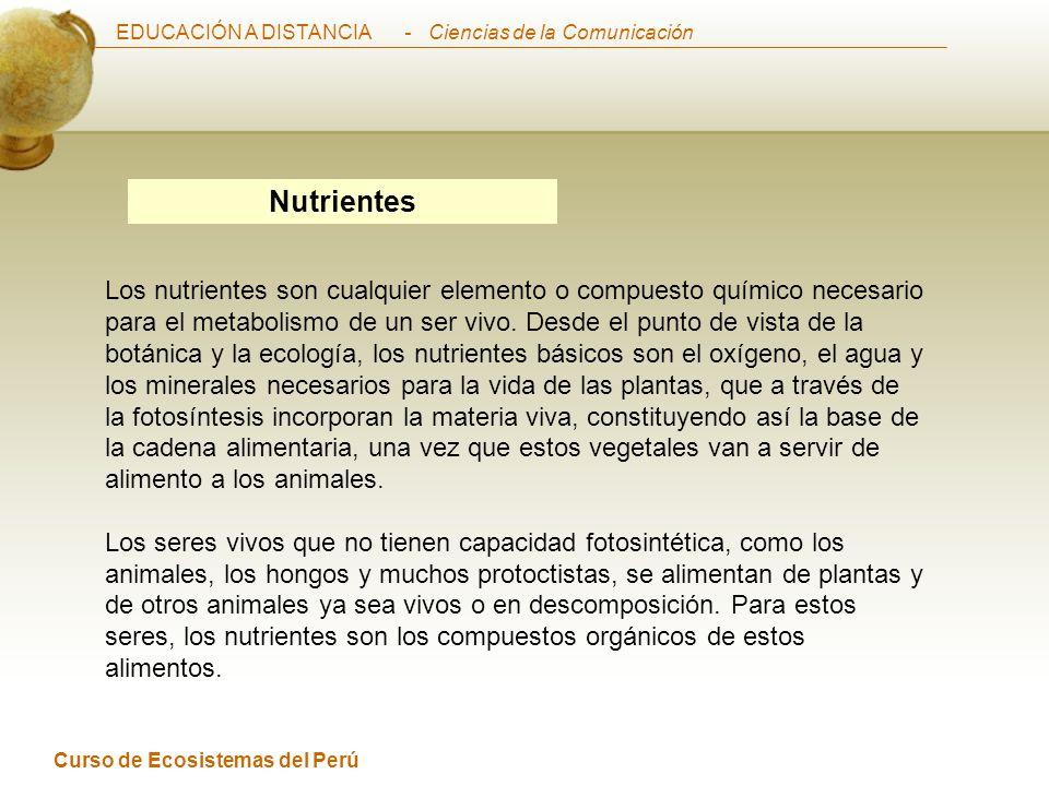 EDUCACIÓN A DISTANCIA Curso de Ecosistemas del Perú - Ciencias de la Comunicación Nutrientes Los nutrientes son cualquier elemento o compuesto químico necesario para el metabolismo de un ser vivo.