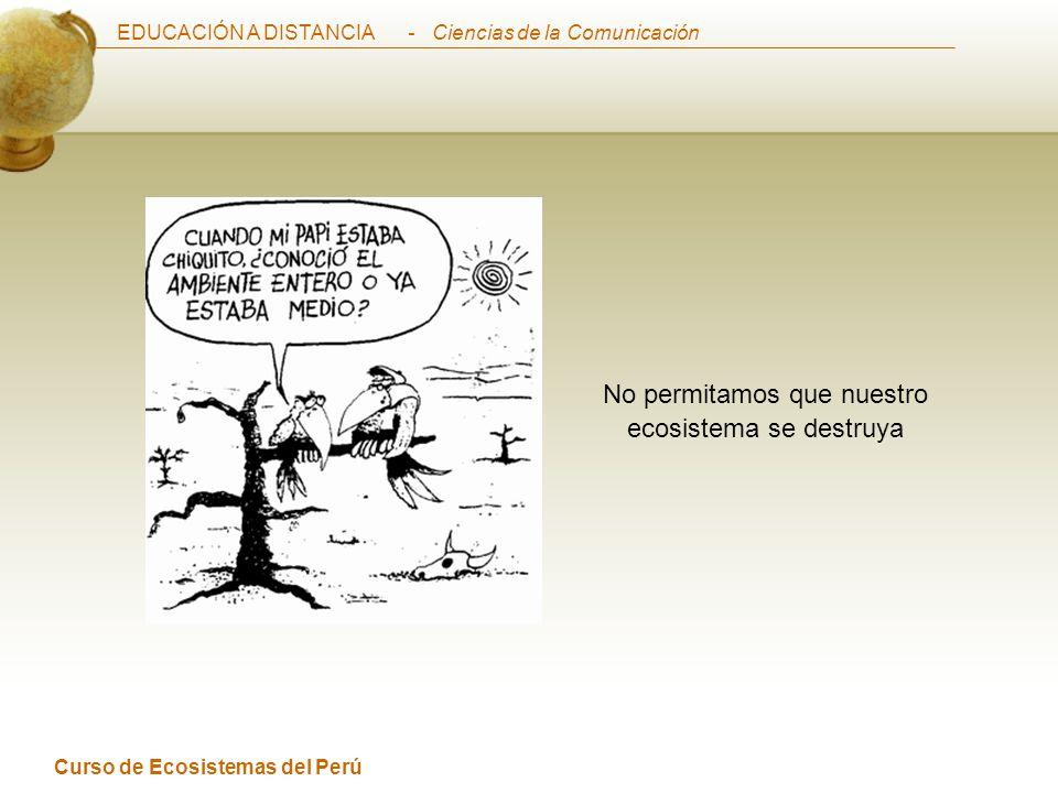 EDUCACIÓN A DISTANCIA Curso de Ecosistemas del Perú - Ciencias de la Comunicación No permitamos que nuestro ecosistema se destruya