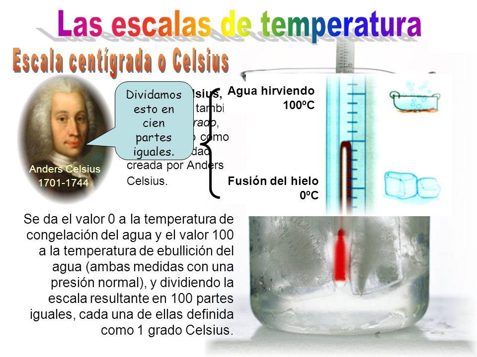 Se da el valor 0 a la temperatura de congelación del agua y el valor 100 a la temperatura de ebullición del agua (ambas medidas con una presión normal), y dividiendo la escala resultante en 100 partes iguales, cada una de ellas definida como 1 grado Celsius.