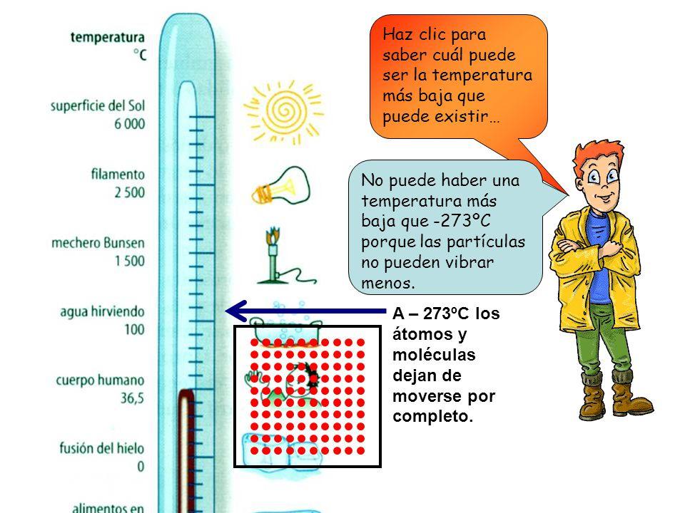 Haz clic para saber cuál puede ser la temperatura más baja que puede existir… A – 273ºC los átomos y moléculas dejan de moverse por completo.