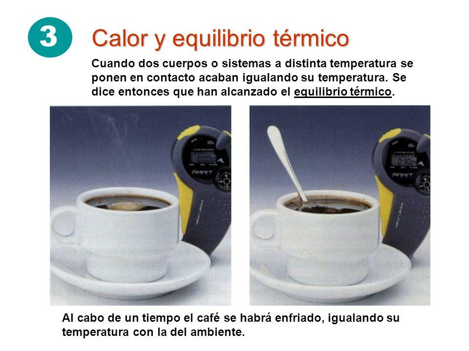 3 Calor y equilibrio térmico Al cabo de un tiempo el café se habrá enfriado, igualando su temperatura con la del ambiente.