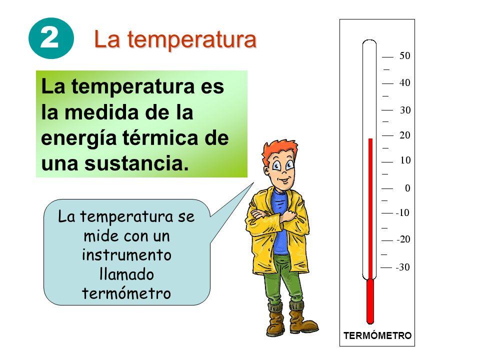 2 La temperatura La temperatura es la medida de la energía térmica de una sustancia.