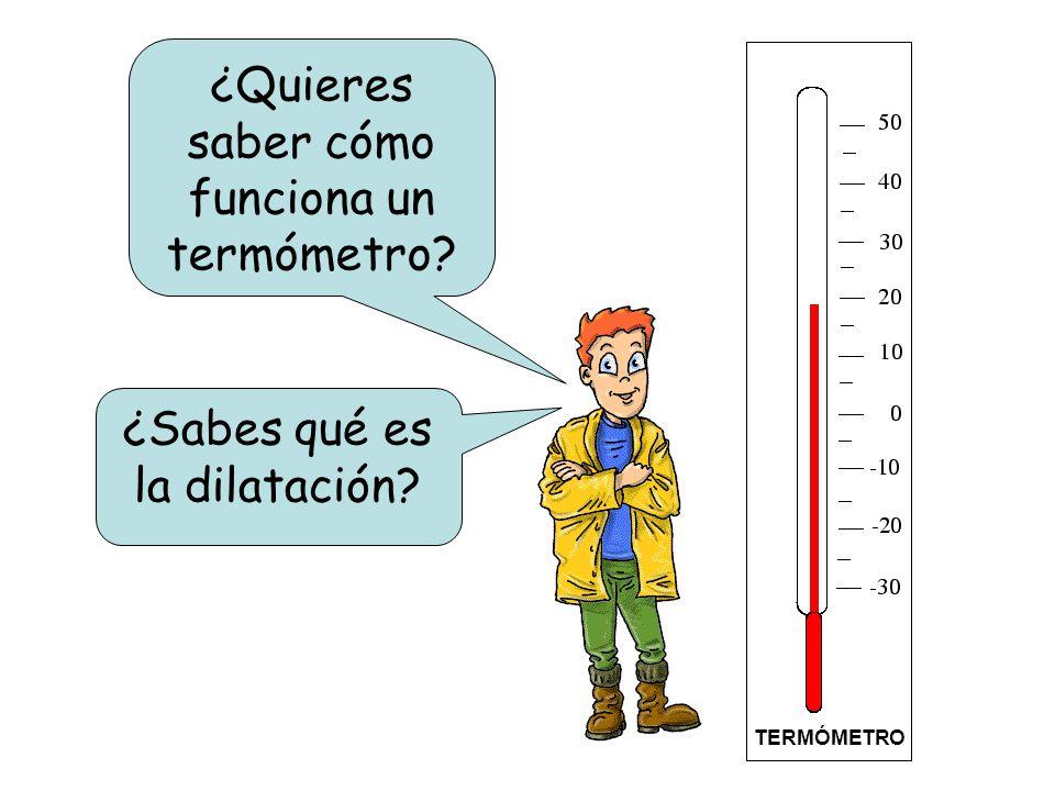 ¿Quieres saber cómo funciona un termómetro? TERMÓMETRO ¿Sabes qué es la dilatación?