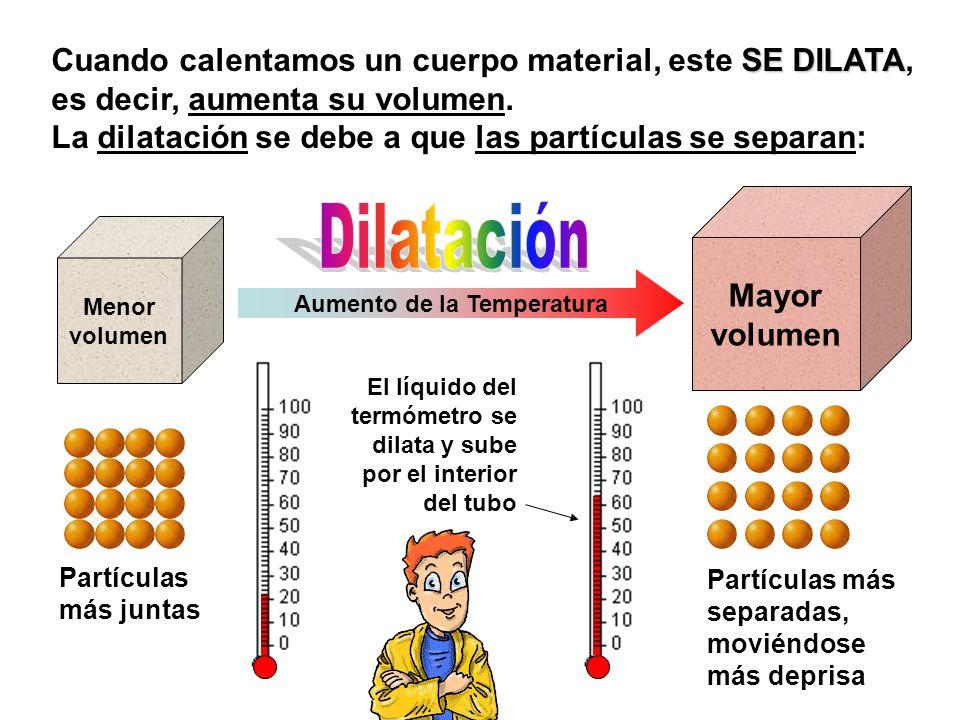 Partículas más separadas, moviéndose más deprisa Menor volumen Aumento de la Temperatura Mayor volumen SE DILATA Cuando calentamos un cuerpo material, este SE DILATA, es decir, aumenta su volumen.
