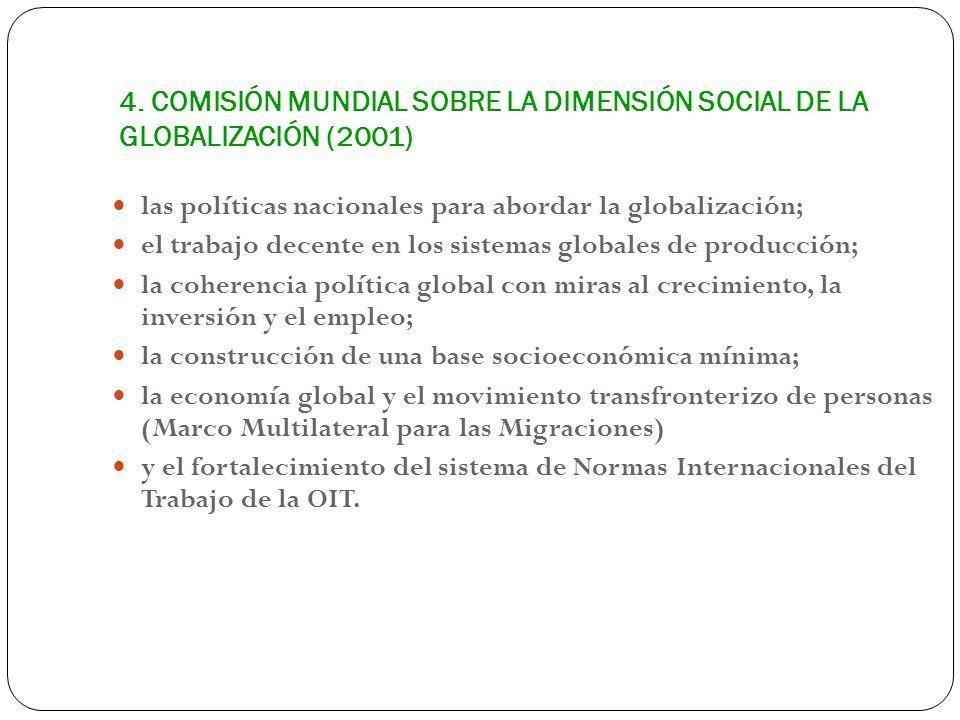 4. COMISIÓN MUNDIAL SOBRE LA DIMENSIÓN SOCIAL DE LA GLOBALIZACIÓN (2001) las políticas nacionales para abordar la globalización; el trabajo decente en
