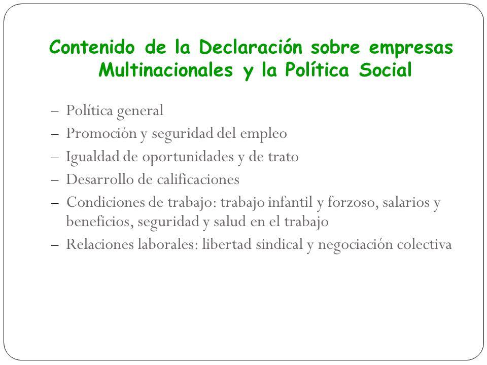 – Política general – Promoción y seguridad del empleo – Igualdad de oportunidades y de trato – Desarrollo de calificaciones – Condiciones de trabajo: