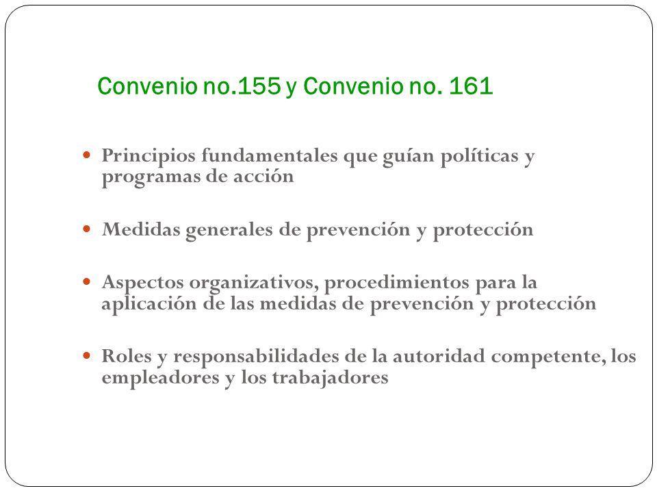 Convenio no.155 y Convenio no. 161 Principios fundamentales que guían políticas y programas de acción Medidas generales de prevención y protección Asp