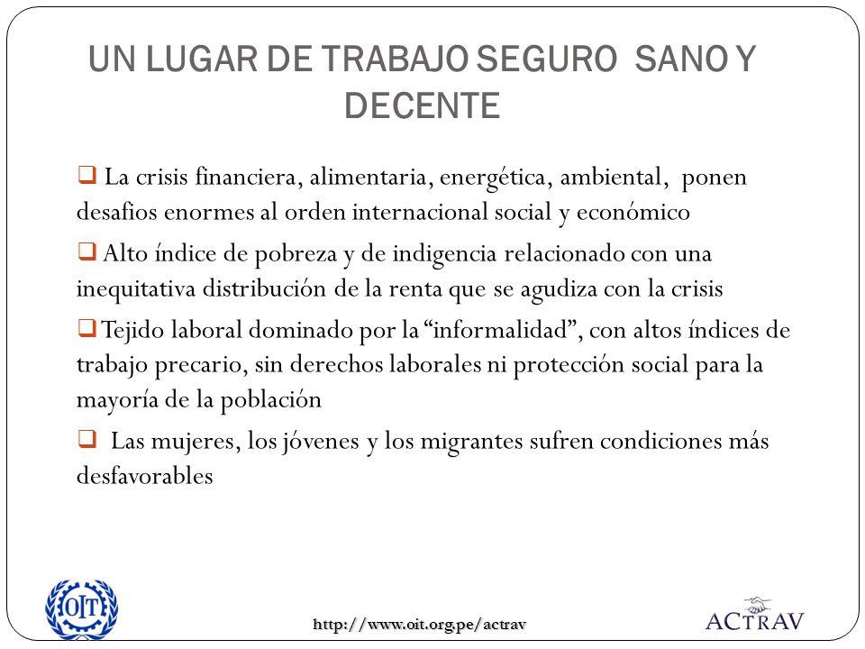 http://www.oit.org.pe/actrav UN LUGAR DE TRABAJO SEGURO SANO Y DECENTE La crisis financiera, alimentaria, energética, ambiental, ponen desafios enorme