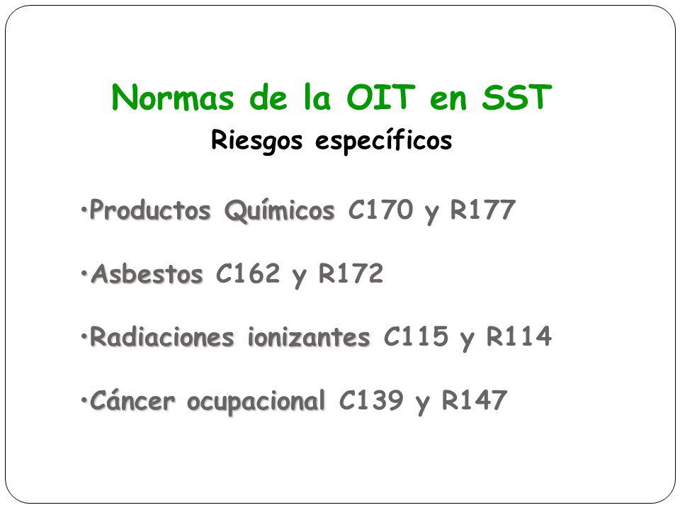 Normas de la OIT en SST Riesgos específicos Productos QuímicosProductos Químicos C170 y R177 AsbestosAsbestos C162 y R172 Radiaciones ionizantesRadiac