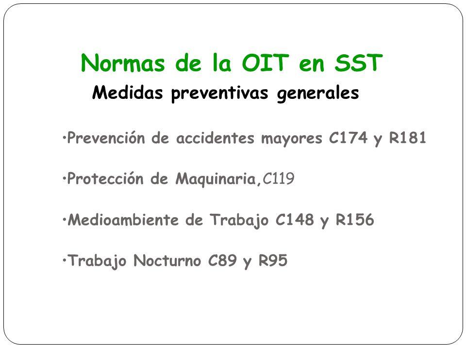 Normas de la OIT en SST Medidas preventivas generales Prevención de accidentes mayores C174 y R181 Protección de Maquinaria,C119 Medioambiente de Trab