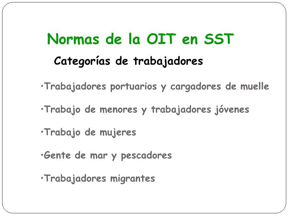 Normas de la OIT en SST Categorías de trabajadores Trabajadores portuarios y cargadores de muelle Trabajo de menores y trabajadores jóvenes Trabajo de