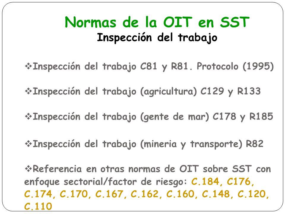 Normas de la OIT en SST Inspección del trabajo Inspección del trabajo C81 y R81. Protocolo (1995) Inspección del trabajo (agricultura) C129 y R133 Ins