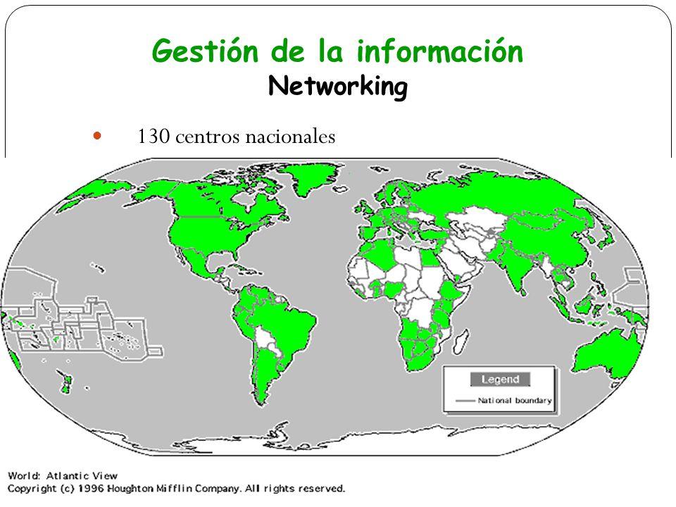 130 centros nacionales Gestión de la información Networking