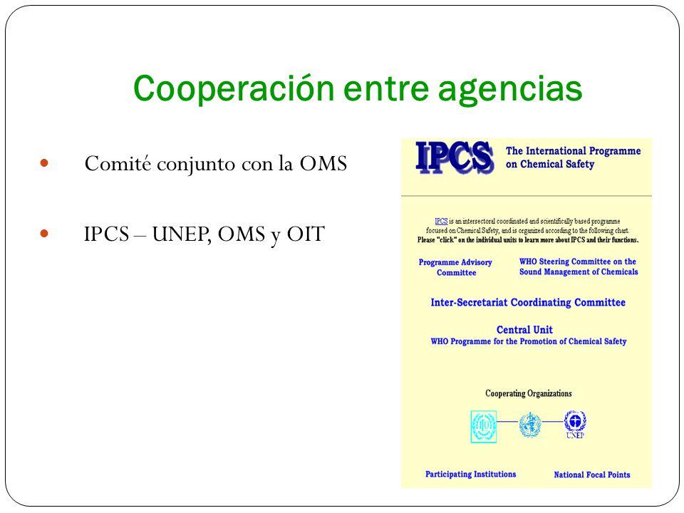 Cooperación entre agencias Comité conjunto con la OMS IPCS – UNEP, OMS y OIT