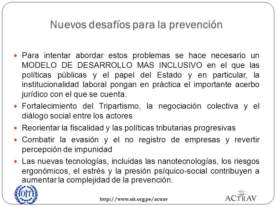 Nuevos desafíos para la prevención Para intentar abordar estos problemas se hace necesario un MODELO DE DESARROLLO MAS INCLUSIVO en el que las polític