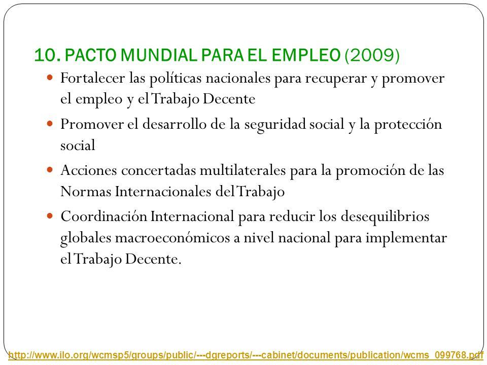 10. PACTO MUNDIAL PARA EL EMPLEO (2009) Fortalecer las políticas nacionales para recuperar y promover el empleo y el Trabajo Decente Promover el desar