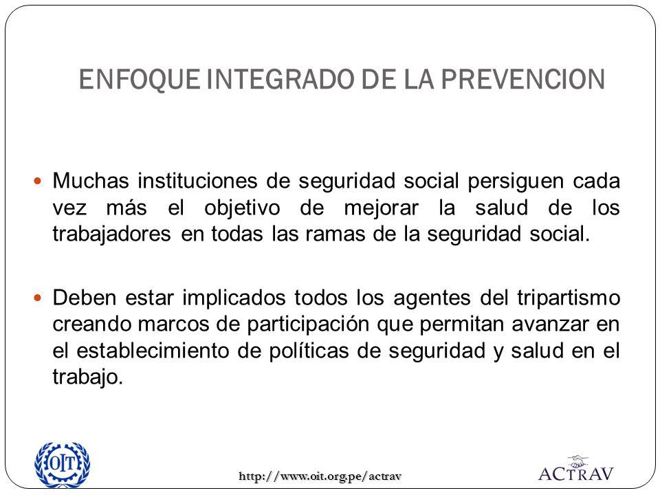 ENFOQUE INTEGRADO DE LA PREVENCION Muchas instituciones de seguridad social persiguen cada vez más el objetivo de mejorar la salud de los trabajadores