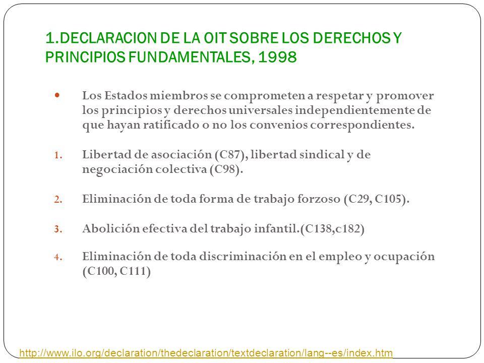 1.DECLARACION DE LA OIT SOBRE LOS DERECHOS Y PRINCIPIOS FUNDAMENTALES, 1998 Los Estados miembros se comprometen a respetar y promover los principios y