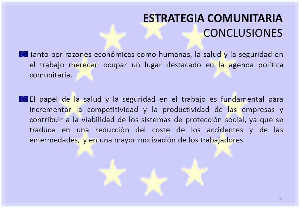 25 ESTRATEGIA COMUNITARIA CONCLUSIONES Tanto por razones económicas como humanas, la salud y la seguridad en el trabajo merecen ocupar un lugar destacado en la agenda política comunitaria.