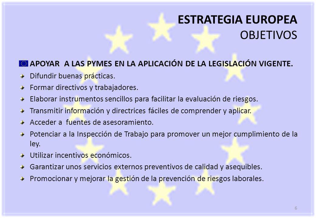 6 ESTRATEGIA EUROPEA OBJETIVOS APOYAR A LAS PYMES EN LA APLICACIÓN DE LA LEGISLACIÓN VIGENTE.