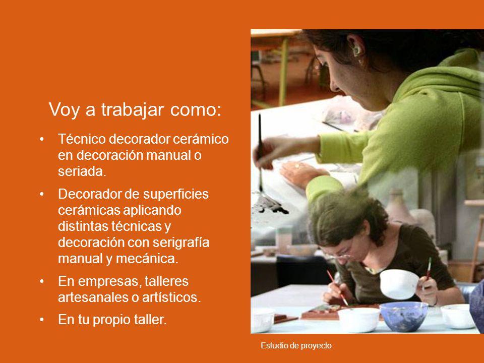Técnico decorador cerámico en decoración manual o seriada. Decorador de superficies cerámicas aplicando distintas técnicas y decoración con serigrafía