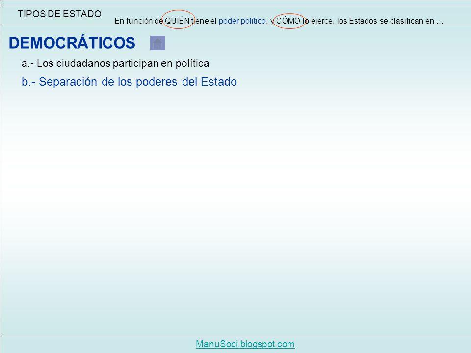 TIPOS DE ESTADO En función de QUIÉN tiene el poder político, y CÓMO lo ejerce, los Estados se clasifican en … ManuSoci.blogspot.com DEMOCRÁTICOS a.- Los ciudadanos participan en política b.- Separación de los poderes del Estado